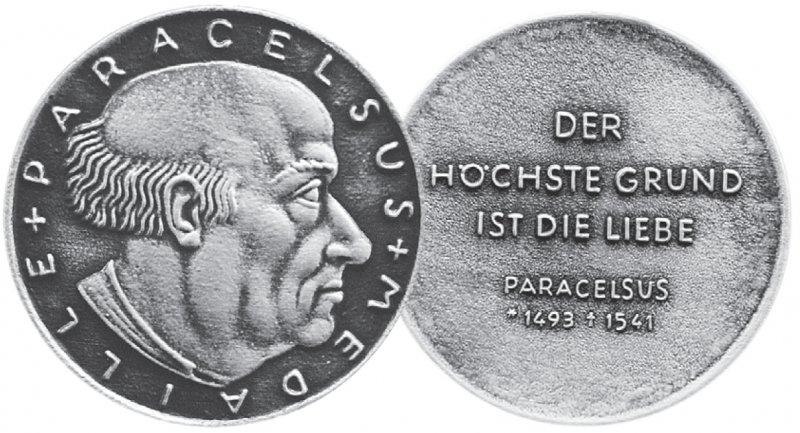 Vorder- und Rückseite der Paracelsus- Medaille