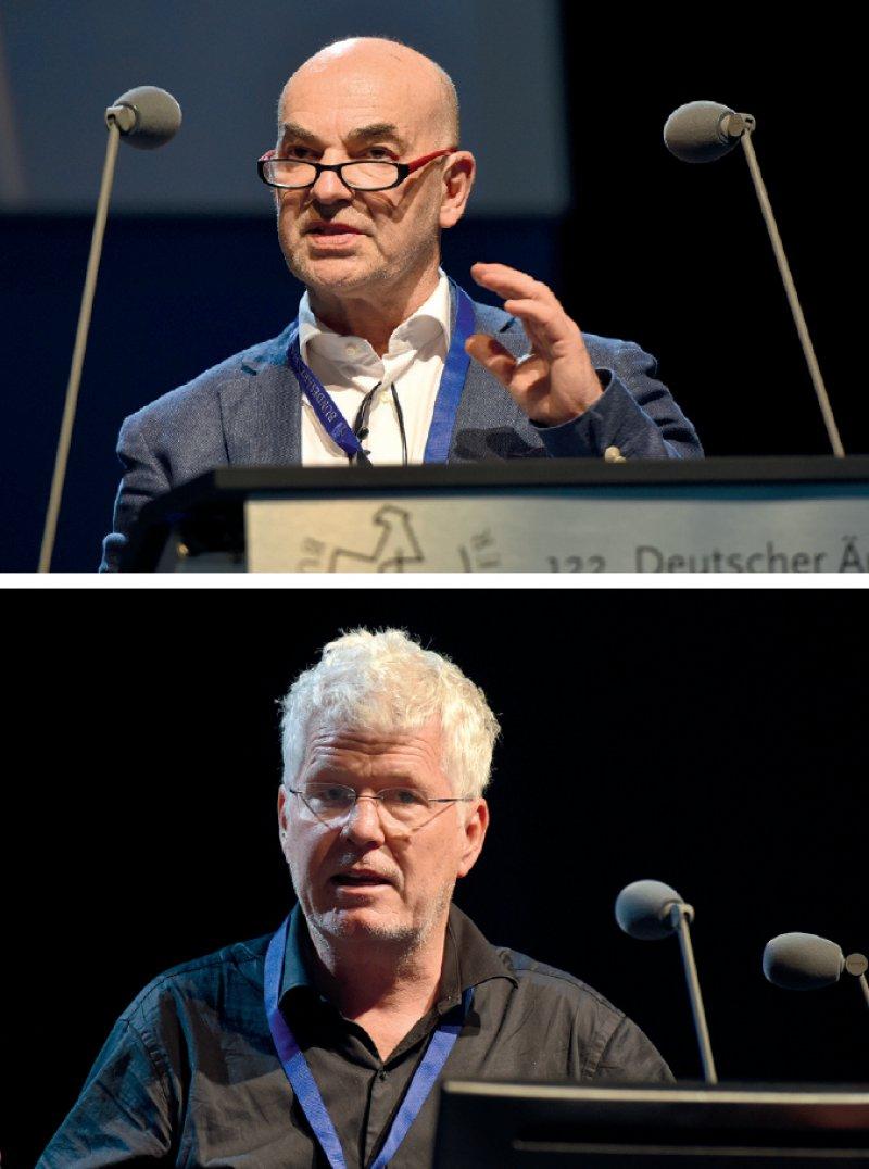 Hanjo Pohle (oben): Es muss möglich sein, jederzeit den Präsidenten und die Vizepräsidenten abberufen zu können. Julian Veelken: Kein Bedarf für eine Neuregelung.
