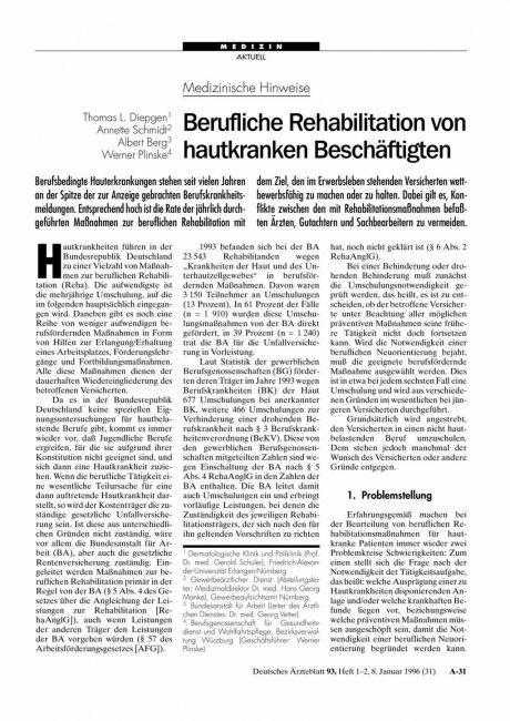 Medizinische Hinweise: Berufliche Rehabilitation von hautkranken Beschäftigten