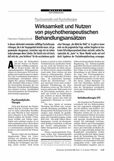 Psychosomatik und Psychotherapie: Wirksamkeit und Nutzen von psychotherapeutischenBehandlungsansätzen
