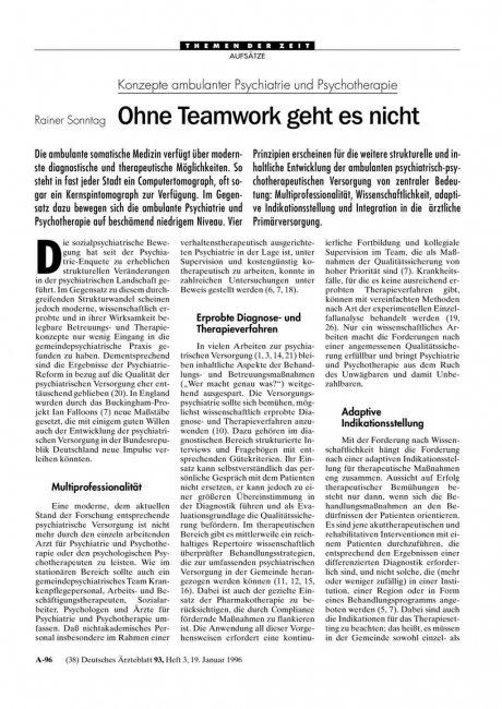 Konzepte ambulanter Psychiatrie und Psychotherapie: Ohne Teamwork geht es nicht