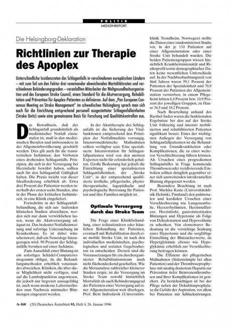 Die Helsingborg-Deklaration: Richtlinien zur Therapie des Apoplex