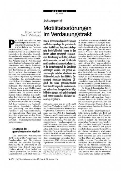 Schwerpunkt: Motilitätsstörungen im Verdauungstrakt