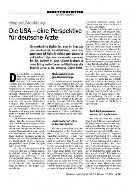 Arbeit und Weiterbildung: Die USA – eine Perspektive für deutsche Ärzte