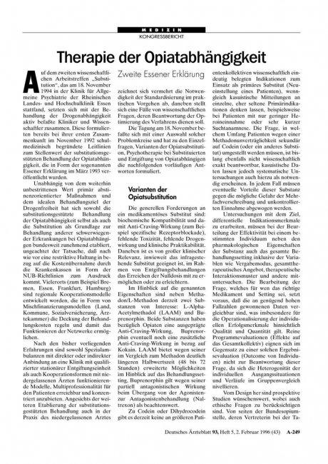Therapie der Opiatabhängigkeit: Zweite Essener Erklärung