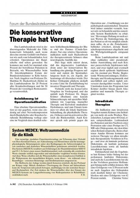 Forum der Bundesärztekammer – Lumbalsyndrom: Die konservative Therapie hat Vorrang
