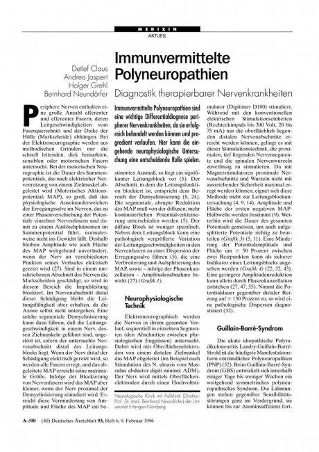 Immunvermittelte Polyneuropathien: Diagnostik therapierbarer Nervenkrankheiten