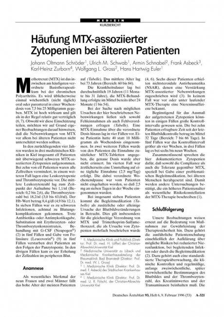 Häufung MTX-assoziierter Zytopenien bei älteren Patienten