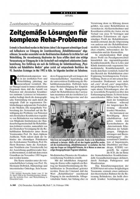 """Zusatzbezeichnung """"Rehabilitationswesen"""": Zeitgemäße Lösungen für komplexe Reha-Probleme"""