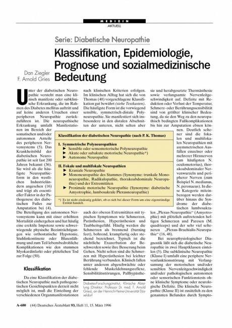 Serie – Diabetische Neuropathie: Klassifikation, Epidemiologie, Prognose und sozialmedizinische Bedeutung