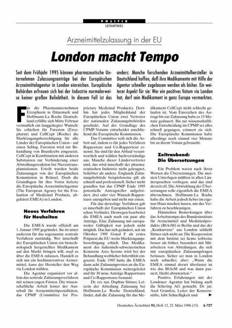 Arzneimittelzulassung in der EU: London macht Tempo