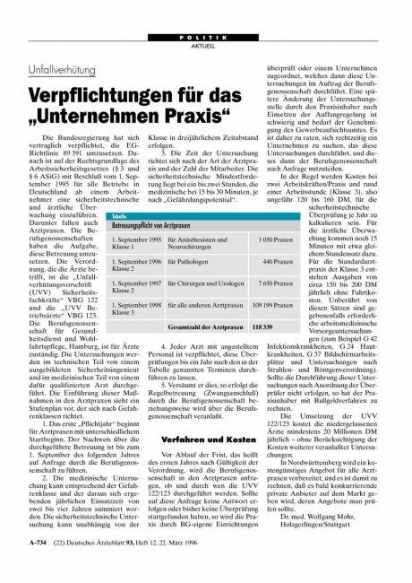 """Unfallverhütung: Verpflichtungen für das """"Unternehmen Praxis"""""""