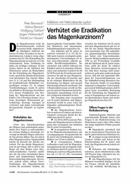 Infektion mit Helicobacter pylori: Verhütet die Eradikation das Magenkarzinom?