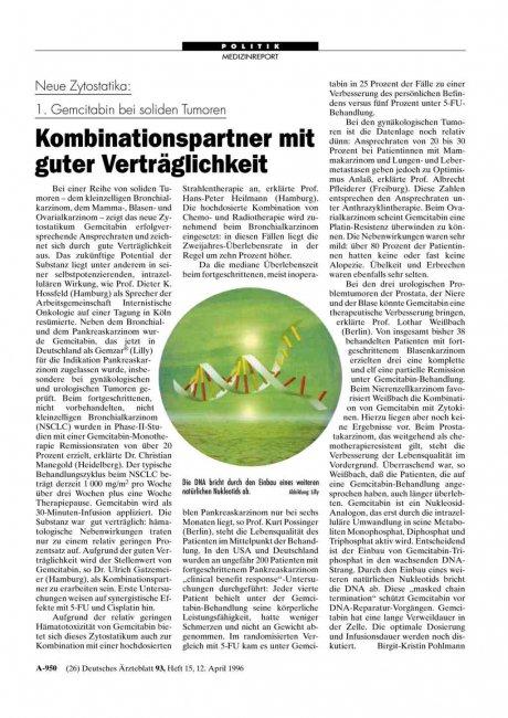 Neue Zytostatika: 1. Gemcitabin bei soliden Tumoren Kombinationspartner mit guter Verträglichkeit