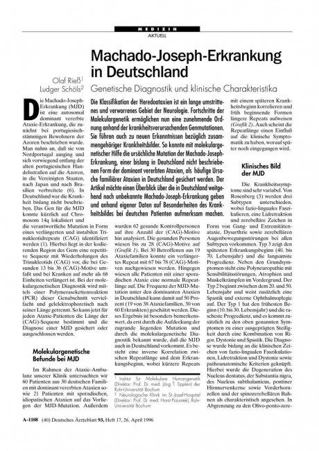 Machado-Joseph-Erkrankung in Deutschland: Genetische Diagnostik und klinische Charakteristika