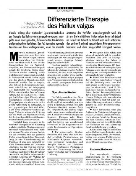 Differenzierte Therapie des Hallux valgus