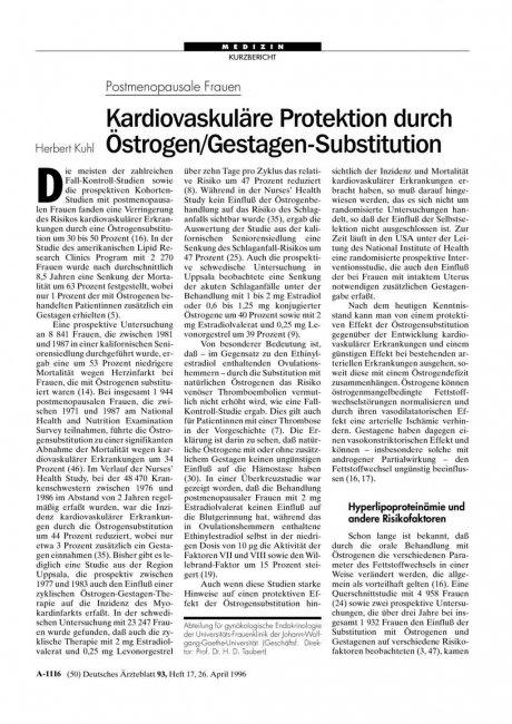 Postmenopausale Frauen: Kardiovaskuläre Protektion durch Östrogen/Gestagen-Substitution