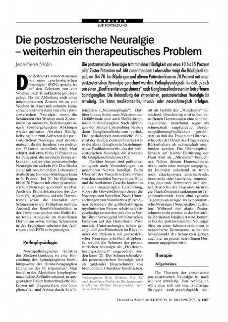 Die postzosterische Neuralgie – weiterhin ein therapeutisches Problem