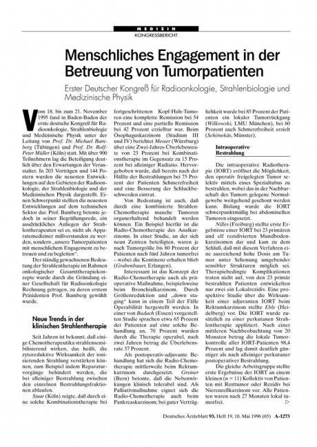Menschliches Engagement in der Betreuung von Tumorpatienten: Erster Deutscher Kongreß für Radioonkologie, Strahlenbiologie und Medizinische Physik