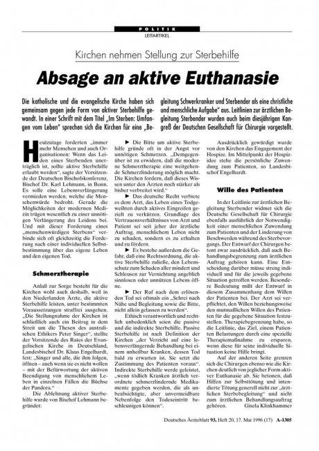 Kirchen nehmen Stellung zur Sterbehilfe: Absage an aktive Euthanasie