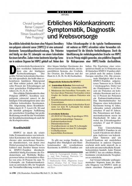 Erbliches Kolonkarzinom: Symptomatik, Diagnostik und Krebsvorsorge