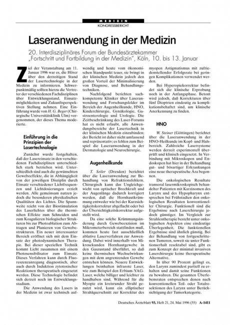 """Laseranwendung in der Medizin: 20. Interdisziplinäres Forum der Bundesärztekammer """"Fortschritt und Fortbildung in der Medizin"""", Köln, 10. bis 13. Januar"""