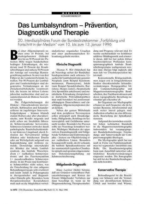 """Das Lumbalsyndrom – Prävention, Diagnostik und Therapie: 20. Interdisziplinäres Forum der Bundesärztekammer """"Fortbildung und Fortschritt in der Medizin"""" vom 10. bis zum 13. Januar 1996"""