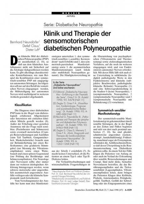 Serie: Diabetische Neuropathie – Klinik und Therapie der sensomotorischen diabetischen Polyneuropathie
