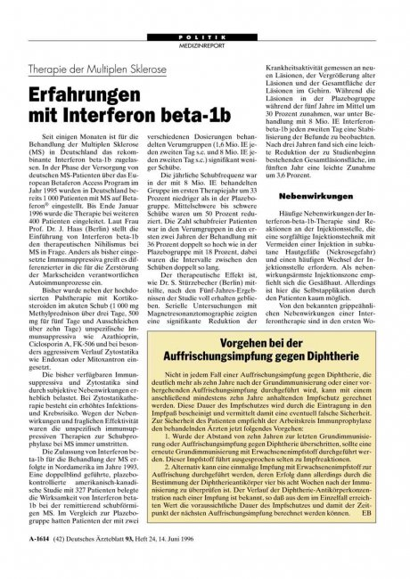 Therapie der Multiplen Sklerose: Erfahrungen mit Interferon beta-1b