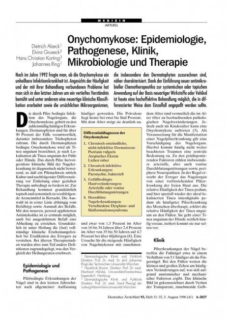 Onychomykose: Epidemiologie, Pathogenese, Klinik, Mikrobiologie und Therapie