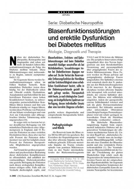 Serie: Diabetische Neuropathie – Blasenfunktionsstörungen und erektile Dysfunktion bei Diabetes mellitus Ätiologie, Diagnostik und Therapie