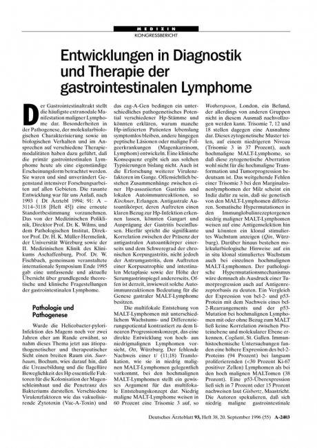 Entwicklungen in Diagnostik und Therapie der gastrointestinalen Lymphome