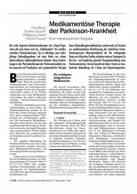 Medikamentöse Therapie der Parkinson-Krankheit: Eine interdisziplinäre Aufgabe