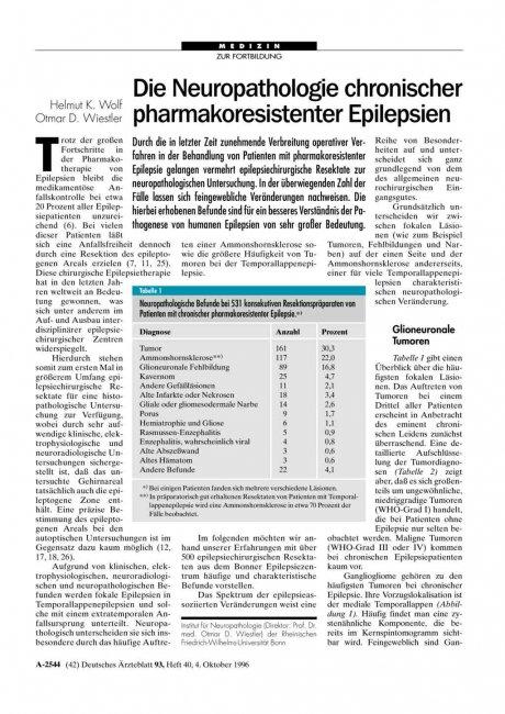 Die Neuropathologie chronischer pharmakoresistenter Epilepsien