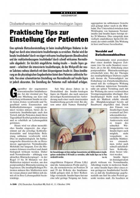 Diabetestherapie mit dem Insulin-Analogon lispro: Praktische Tips zur Einstellung der Patienten
