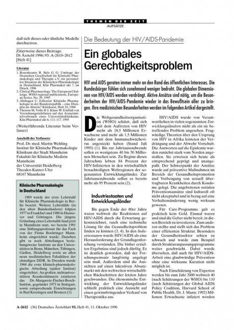 Die Bedeutung der HIV/AIDS-Pandemie: Ein globales Gerechtigkeitsproblem
