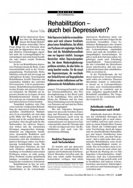Rehabilitation – auch bei Depressiven?