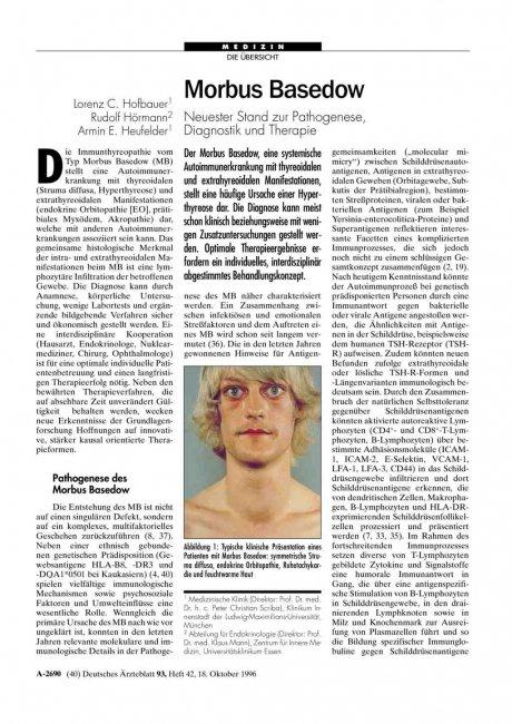 Morbus Basedow: Neuester Stand zur Pathogenese, Diagnostik und Therapie