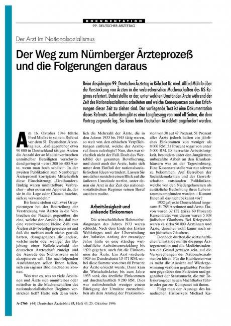 Der Arzt im Nationalsozialismus: Der Weg zum Nürnberger Ärzteprozeß und die Folgerungen daraus