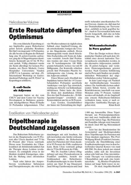 Eradikation von Helicobacter pylori: Tripeltherapie in Deutschland zugelassen