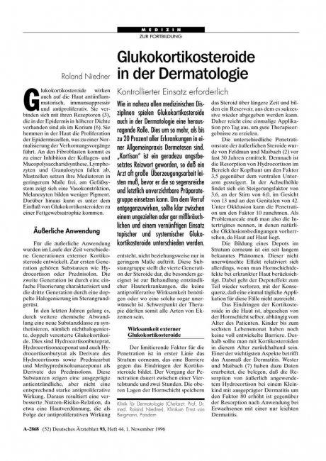 Glukokortikosteroide in der Dermatologie: Kontrollierter Einsatz erforderlich