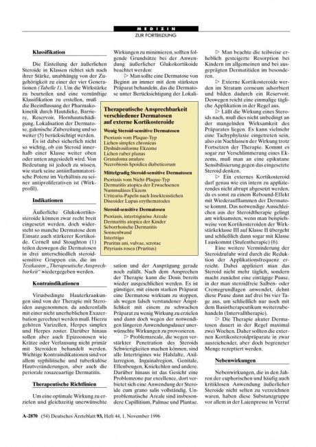 Therapeutische Ansprechbarkeit verschiedener Dermatosen auf externe Kortikosteroide