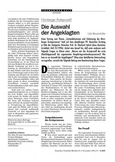 Nürnberger Ärzteprozeß: Die Auswahl der Angeklagten