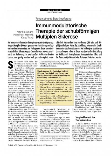 Rekombinante Beta-Interferone: Immunmodulatorische Therapie der schubförmigen Multiplen Sklerose