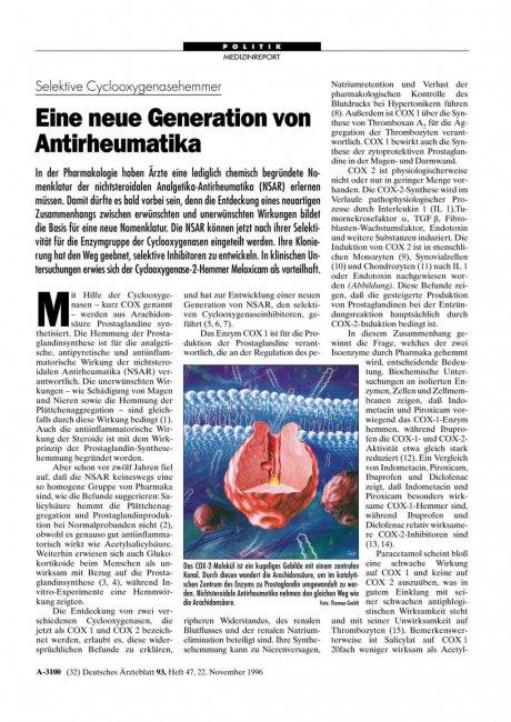 Selektive Cyclooxygenasehemmer: Eine neue Generation von Antirheumatika