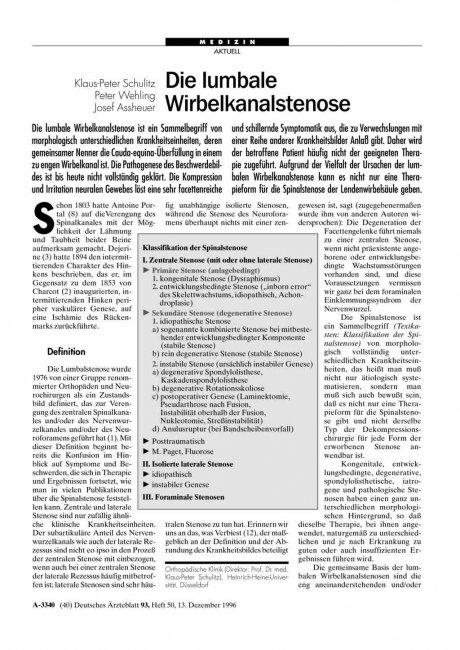 Klassifikation der Spinalstenose