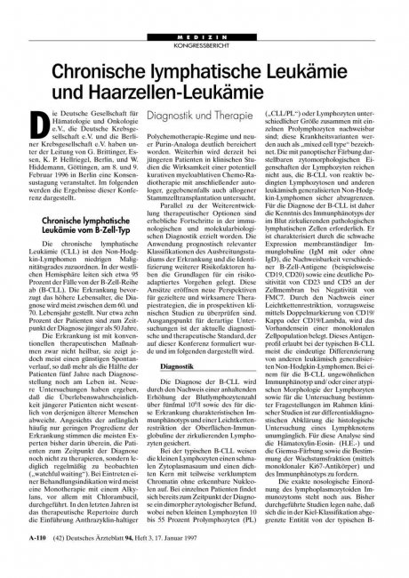 Chronische lymphatische Leukämie und Haarzellen-Leukämie: Diagnostik und Therapie