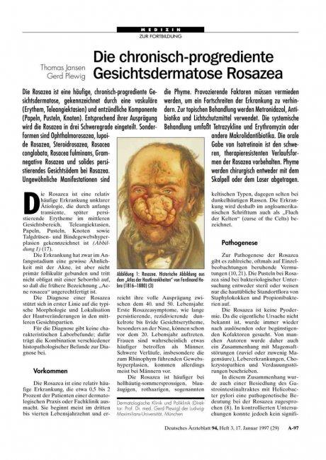Die chronisch-progrediente Gesichtsdermatose Rosazea