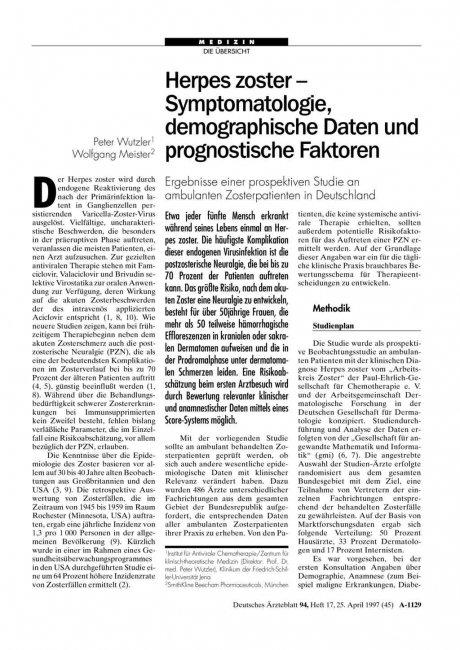 Herpes zoster - Symptomatologie, demographische Daten und prognostische Faktoren: Ergebnisse einer prospektiven Studie an ambulanten Zosterpatienten in Deutschland