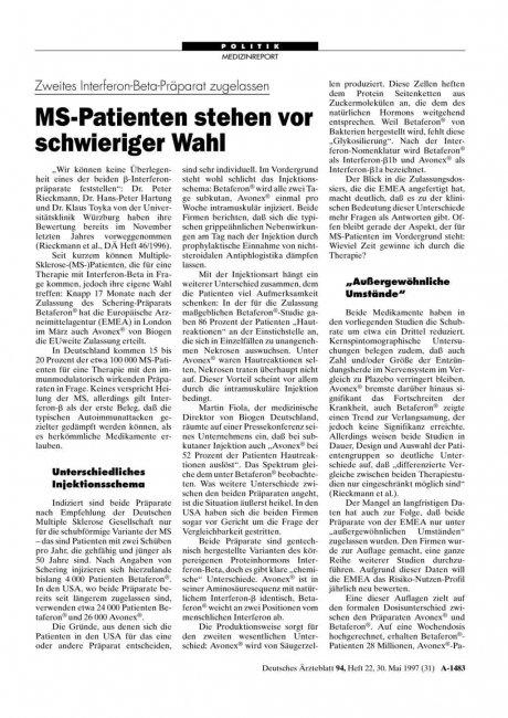 Zweites Interferon-Beta-Präparat zugelassen: MS-Patienten stehen vor schwieriger Wahl